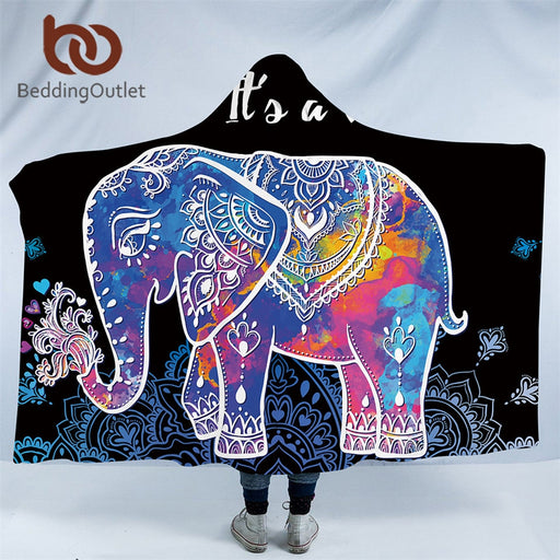 Dropshipful Indian Elephant Collection Hooded Blanket for Adults Sherpa Fleece Wearable Throw Blanket 150x200cm Boho Bedding - Dropshipful.com