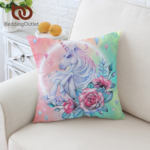 Dropshipful Unicorn and Rose Cushion Cover Cartoon Pillowcase Girly Floral Throw Cover Pink Blue Green Decorative Pillow Cover - Dropshipful.com
