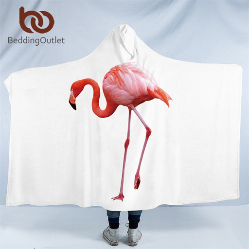 Dropshipful Flamingo Hooded Blanket Tropical Sherpa Fleece Wearable Blanket Floral Kids Adults Throw Blanket Home Textiles - Dropshipful.com