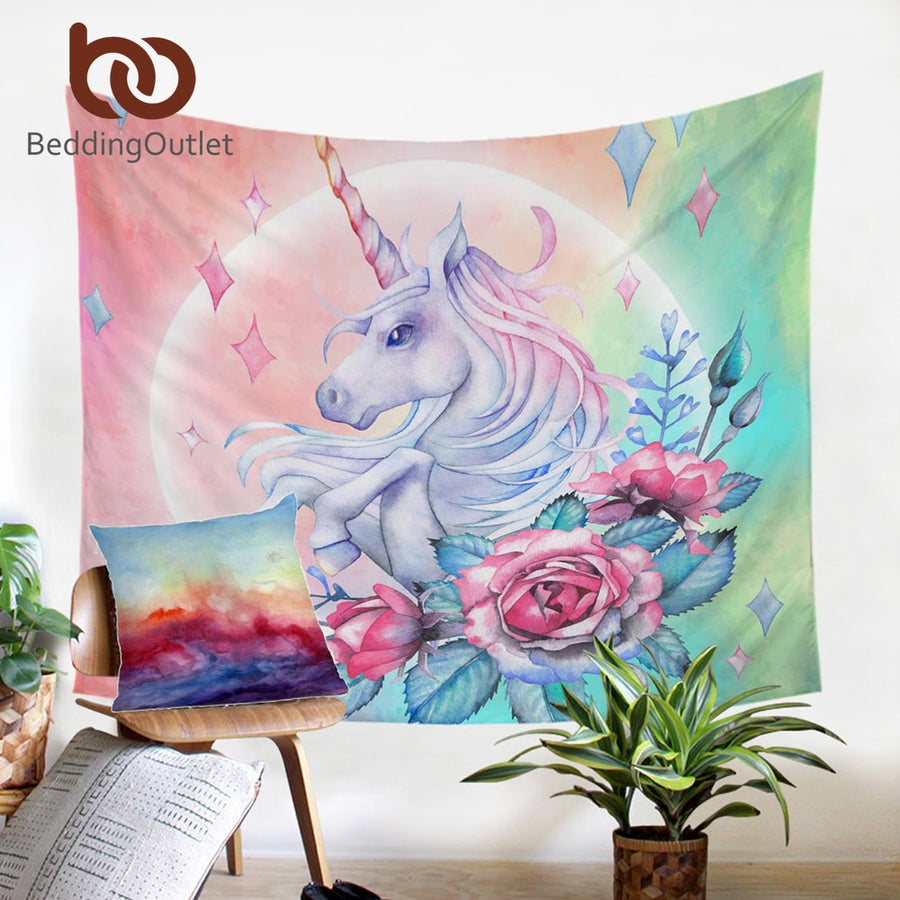 Dropshipful Unicorn and Rose Tapestry Wall Hanging Girly Floral Decorative Wall Art Cartoon Bedspreads Pink Blue Sheet 150x200 - Dropshipful.com