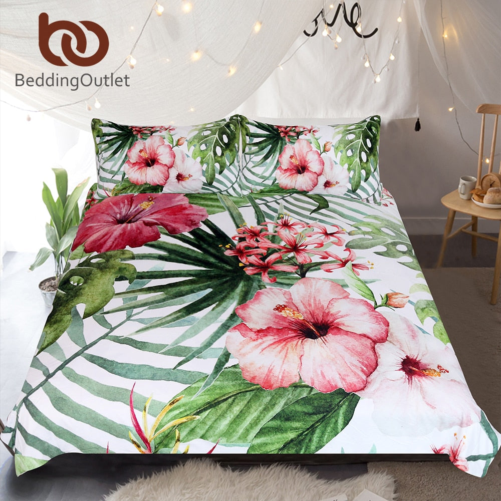 Dropshipful Flowers Bedding Set Leaves Duvet Cover Set Tropical Plants Home Textiles 3-Piece Red Green White Bedclothes - Dropshipful.com