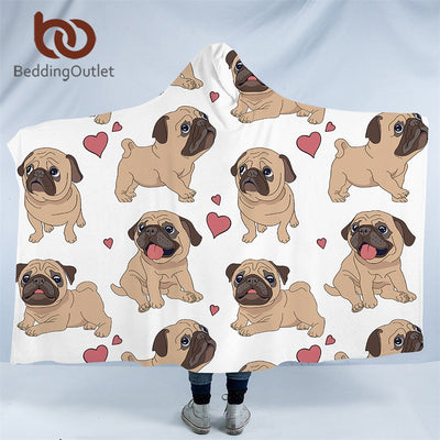 Dropshipful Pet Dog Collection Hooded Blanket Hippie Pug Sherpa Fleece Wearable Blanket Husky Dachshund Throw Blanket 150x200 - Dropshipful.com