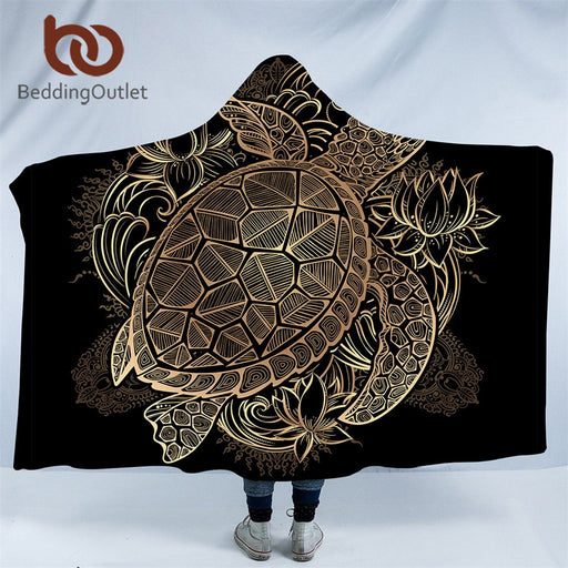 Dropshipful Golden Animal Collection Hooded Blanket Turtle Tortoise Sherpa Fleece Wearable Blanket Dolphin Owl Throw Blanket - Dropshipful.com