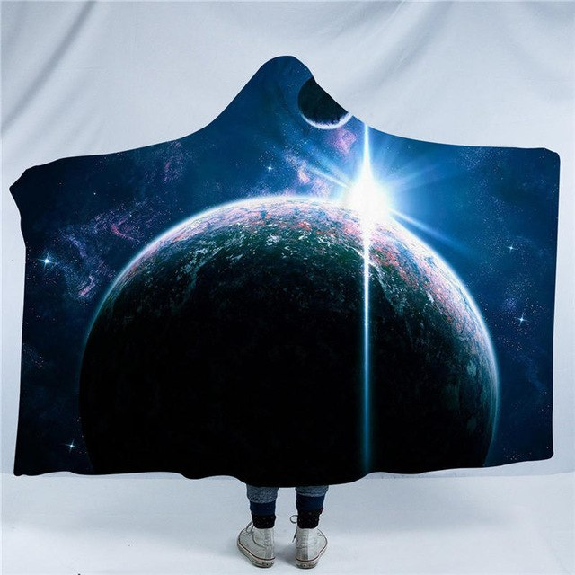 Dropshipful Galaxy Hooded Blanket Outer Space  Sherpa Fleece Wearable Blanket Adults Earth Moon Blue Throw Blanket 150x200cm - Dropshipful.com