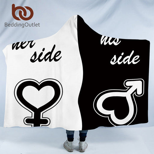 Dropshipful His & Her Side Hooded Blanket for Couple Sherpa Fleece Wearable Blanket Black and White Throw Blanket Valentine - Dropshipful.com