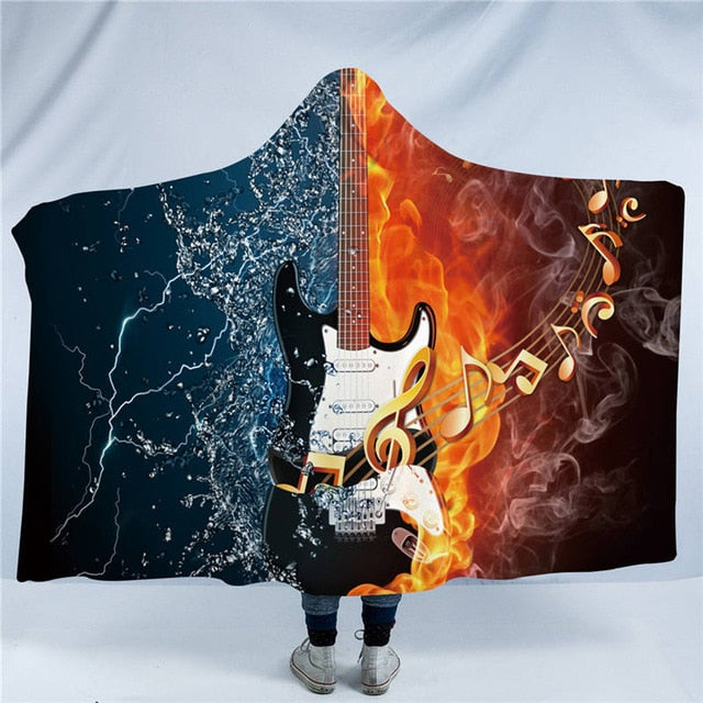 Dropshipful Fire And Water Hooded Blanket 3D Guitar Sherpa Fleece Wearable Blanket Adults Musical Instrument Throw Blanket - Dropshipful.com