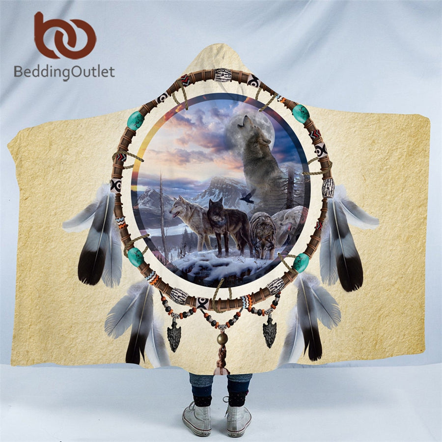 Dropshipful Dreamcatcher Hooded Blanket 3D Wolf Sherpa Fleece Wearable Blanket Wolves Tribal Throw Blankets for Bed Sofa Home - Dropshipful.com