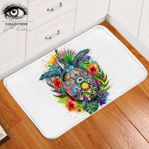 Turtle Life by Pixie Cold Art Floor Mat Non-slip Bohemian Bathroom Carpet Floral Colorful Doormats Outdoor Tortoise tapete 40x60 - Dropshipful.com