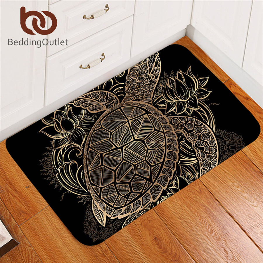 Dropshipful Turtles Bath Rugs Non-slip Animal Golden Tortoise Door Carpet Flowers Lotus Bohemian Floor Mat Home Decor 50x80cm - Dropshipful.com
