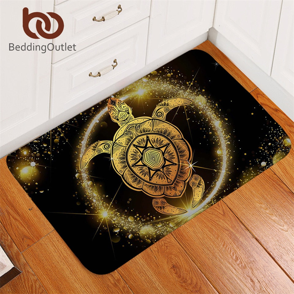 Dropshipful Turtles Area Rug for Living Room Non-slip Golden Tortoise Bathroom Carpet Shining Animal Bohemian Doormat Indoor - Dropshipful.com