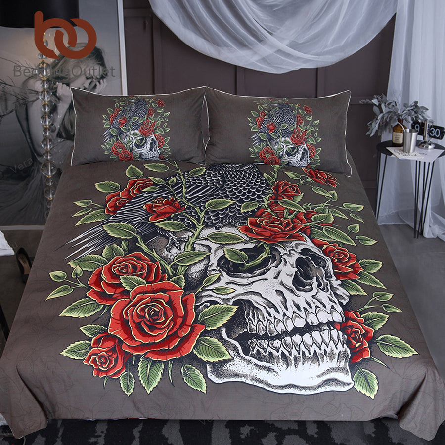 Dropshipful Skull Bedding Set Bird Crow Duvet Cover Set Leaves Flower Roses Bedclothes Black Red Gothic Home Textiles 3-Piece - Dropshipful.com