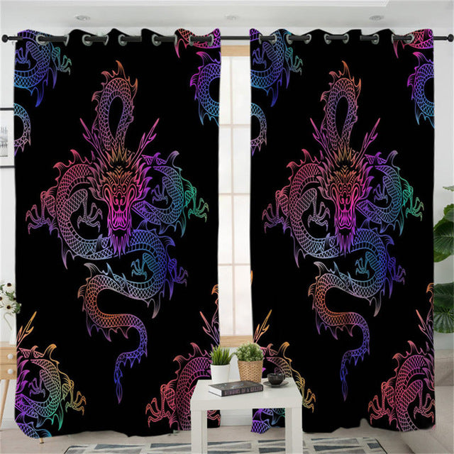 Dropshipful Dragon Totem Living Room Curtains Chinese Myths Colorful Curtain for Bedroom Window Treatment Drapes Home Decor - Dropshipful.com