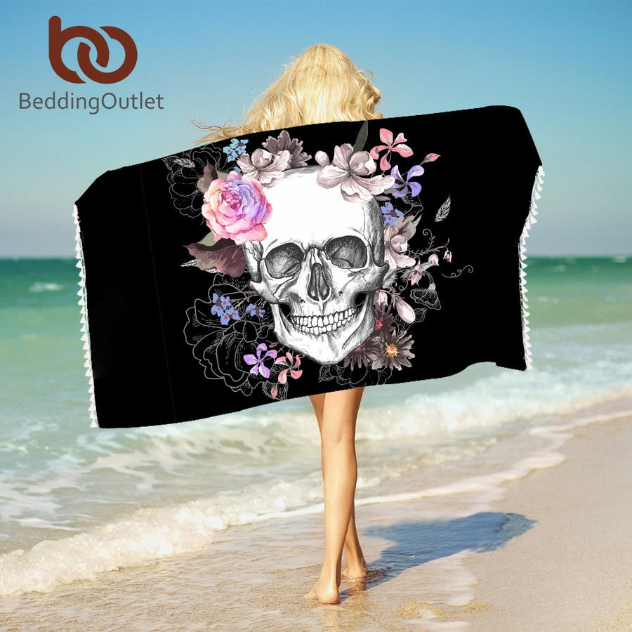 Dropshipful Sugar Skull Bath Towel With Tassels Floral Microfiber Beach Towel Pink Rose Rectangle Yoga Mat 75cmx150cm - Dropshipful.com