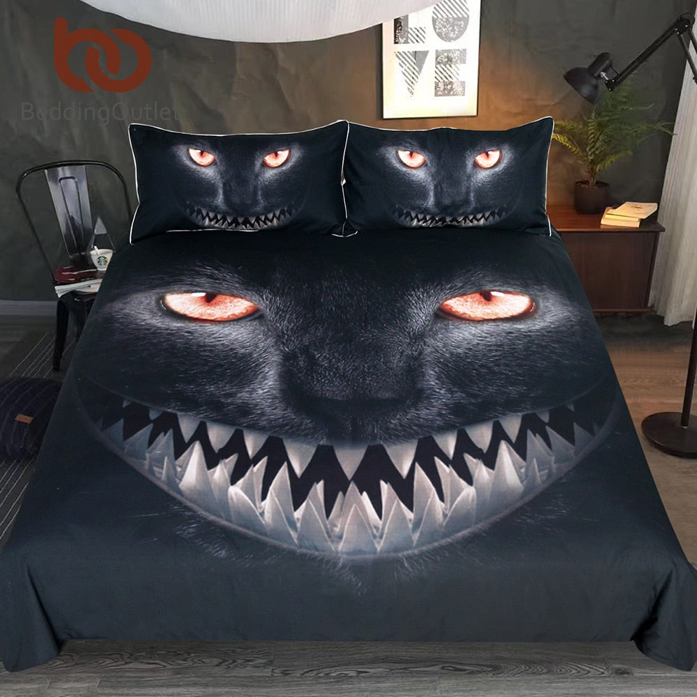Dropshipful Black Cat Bedding Set Horrible Animal Fangs Duvet Cover Set Nightmare Bedclothes for Halloween Home Textiles 3pcs - Dropshipful.com