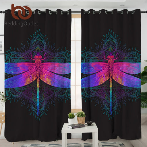Dropshipful Dragonfly Mandala Living Room Curtains Colorful Curtain for Bedroom Purple Pink Insect Window Treatment Drapes - Dropshipful.com