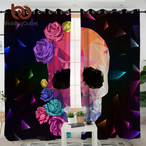 Dropshipful Geometric Skull Living Room Curtains Gothic Colorful Curtain for Bedroom Rose Floral Window Treatment Drapes - Dropshipful.com