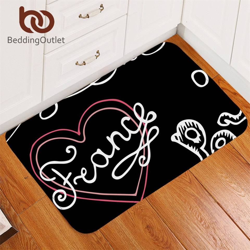 Dropshipful France Paris Non-slip Bathroom Rugs Letters Heart Printed Floor Carpet Black and White Door Mats Outdoor 50x80cm - Dropshipful.com