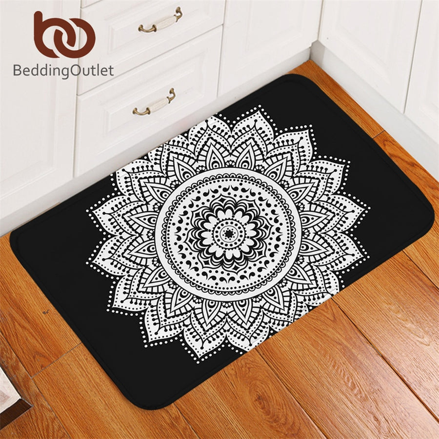Dropshipful Mandala Bathroom Rugs Non-slip Black and White Floral Kitchen Carpet Bohemian Lotus Door Mats Outdoor 40x60cm - Dropshipful.com