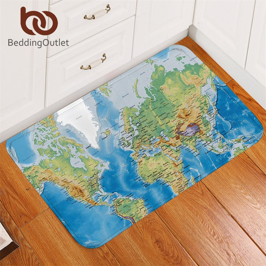 Dropshipful World Map Bathroom Rugs Non-slip Vivid Printed Blue Carpet Super Soft Door Mats Indoor Home Decoration 50x80cm - Dropshipful.com