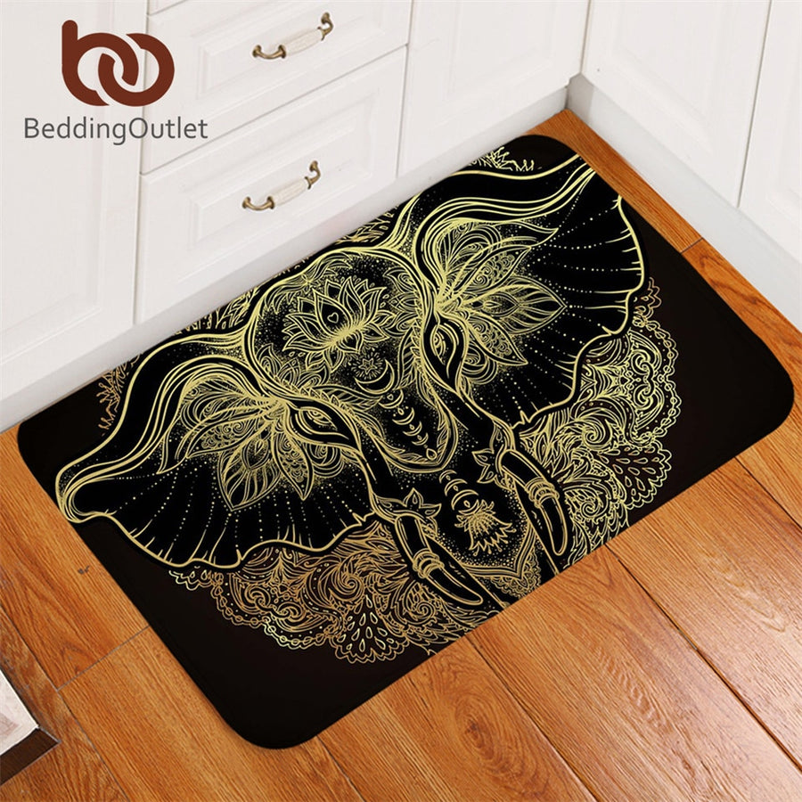 Dropshipful Tribal Elephant Bathroom Rugs Non-slip Boho Mandala Golden Area Rug Ethnic Indian God Ganesha Door Mats Outdoor - Dropshipful.com