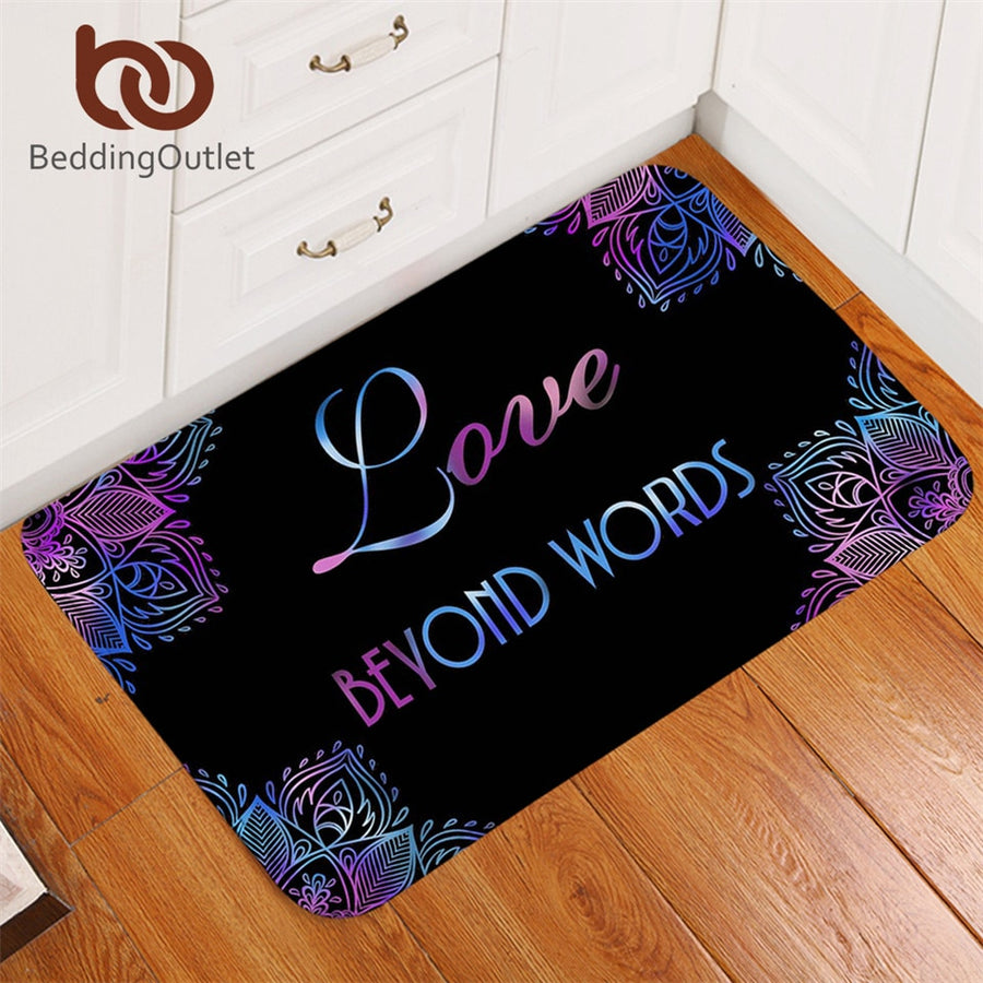 Dropshipful Flowers Bath Rugs Non-slip Boho Mandala Door Carpet Love Beyond Words Door Mats Outdoor Purple Blue tapete 50x80cm - Dropshipful.com