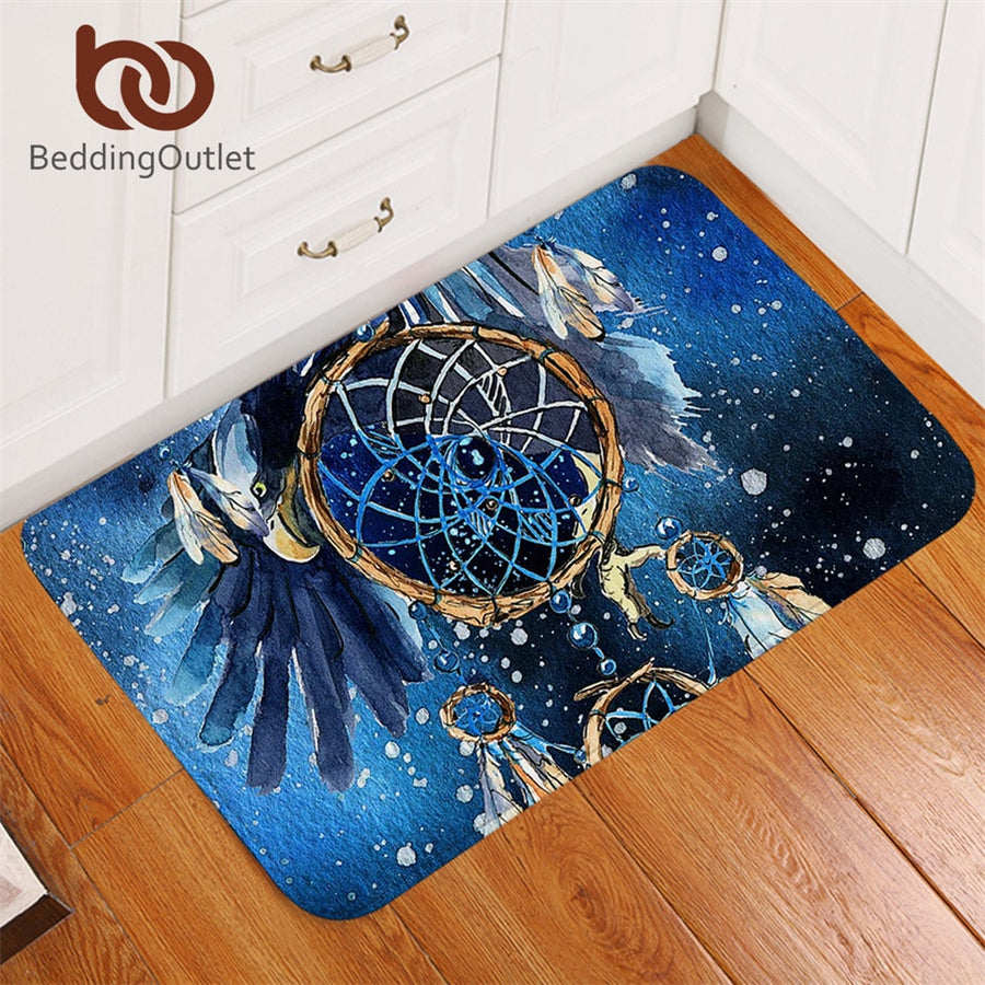 Dropshipful Dreamcatcher Bath Rugs Non-slip Bald Eagle Bathroom Carpet Bohemian Door Mats Indoor Blue Galaxy tapete 40x60cm - Dropshipful.com