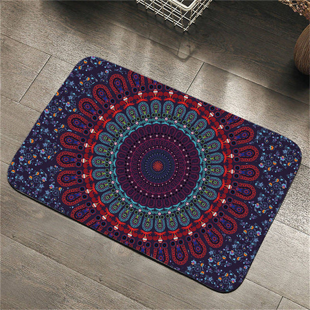 Dropshipful Mandala Area Rug Non-slip Soft Bathroom Carpet Purple Blue Red Bohemian Door Mats Outdoor Entrance 50x80cm tapete - Dropshipful.com