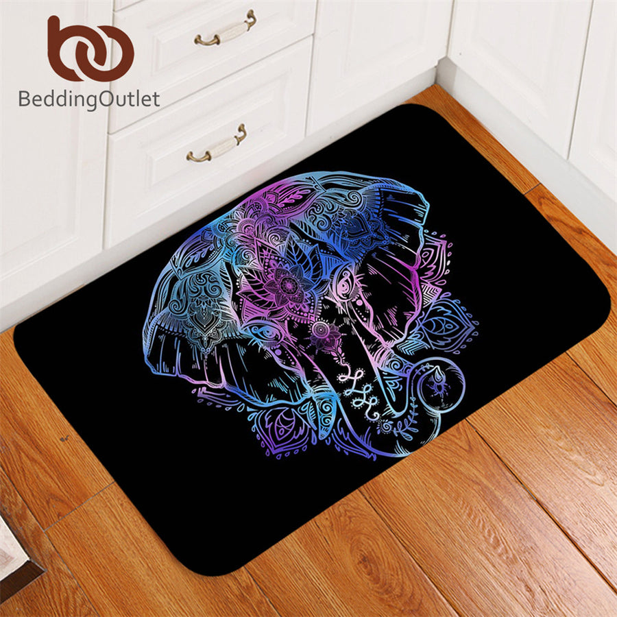 Dropshipful Indian Elephant Bath Rugs Non-slip Animal Bohemian Door Carpet Lotus Flower Floor Mat Home Decor tapete 50x80cm - Dropshipful.com