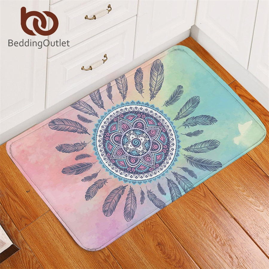 Dropshipful Mandala Bath Rugs Non-slip Pink and Blue Bathroom Carpet Bohemian Feathers Area Rug Mat for Living Room 40x60cm - Dropshipful.com