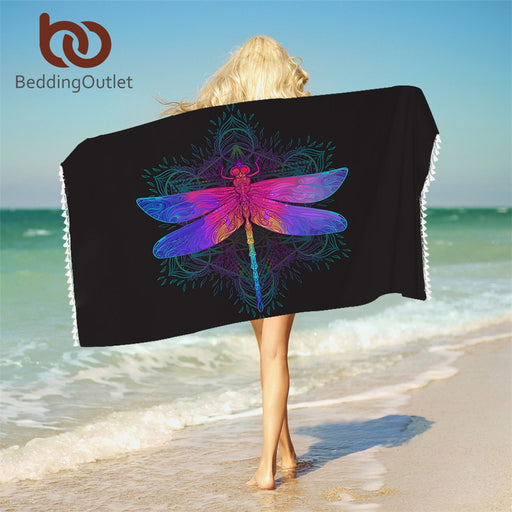Dropshipful Dragonfly Mandala Bath Towel With Tassels For Bathroom Microfiber Colorful Beach Towel Purple Pink Insect Blanket - Dropshipful.com