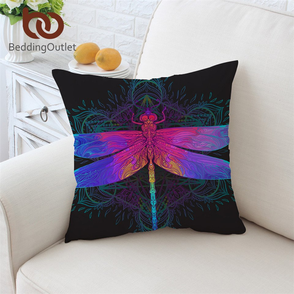 Dropshipful Dragonfly Cushion Cover Colorful Pillowcase Mandala Throw Cover Purple Pink Insect Decorative Pillow Cover 45x45cm - Dropshipful.com