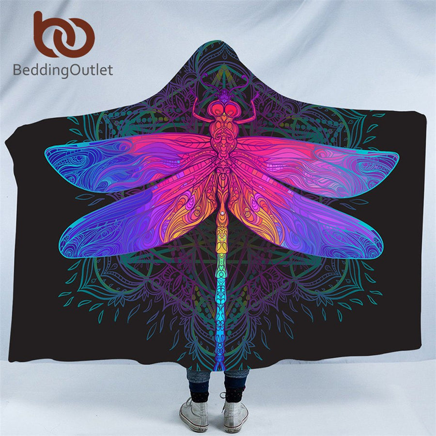 Dropshipful Dragonfly Hooded Blanket Mandala Colorful Sherpa Fleece Wearable Throw Blanket Adult Purple Pink Insect Bedding - Dropshipful.com