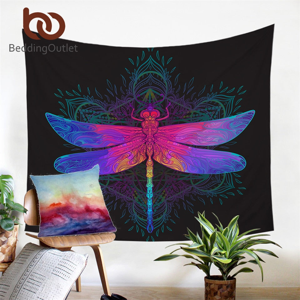 Dropshipful Dragonfly Mandala Tapestry Wall Hanging Colorful Decorative Wall Art Purple Pink Insect Bedspreads Sheet 150x200cm - Dropshipful.com