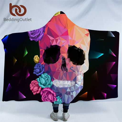 Dropshipful Geometric Skull Hooded Blanket Gothic Colorful Sherpa Fleece Wearable Throw Blanket Adult Kids Rose Floral Bedding - Dropshipful.com