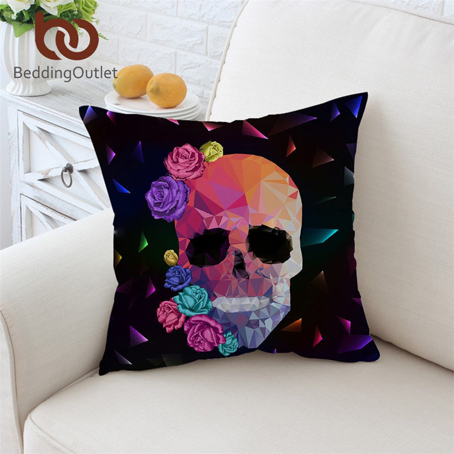 Dropshipful Geometric Skull Cushion Cover Colorful Pillowcase Gothic Throw Cover Rose Floral Decorative Pillow Cover 45x45cm - Dropshipful.com