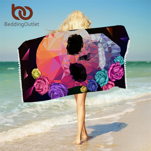 Dropshipful Geometric Skull Bath Towel With Tassels For Bathroom Microfiber Gothic Colorful Beach Towel Rose Floral Blanket - Dropshipful.com