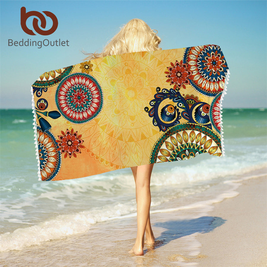 Dropshipful Kaleidoscope Bath Towel With Tassels For Bathroom Microfiber Ethnic Bohemian Beach Towel Mandala Flowers Blanket - Dropshipful.com