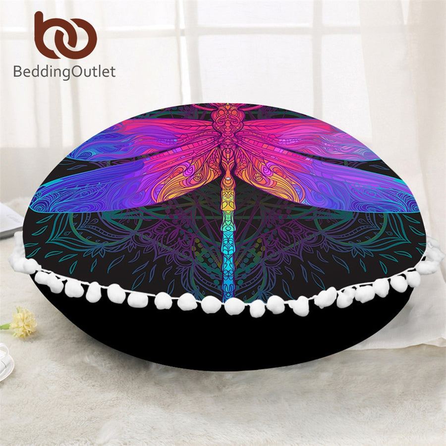 Dropshipful Dragonfly Mandala Round Floor Pillow Case Colorful Cushion Cover Poufs Purple Pink Boho Decorative Pillow Cover - Dropshipful.com