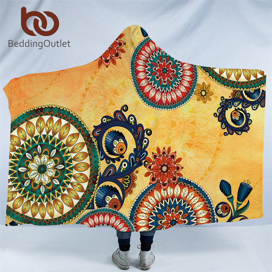 Dropshipful Kaleidoscope Hooded Blanket Ethnic Bohemian Sherpa Fleece Wearable Throw Blanket Adult Mandala Flowers Bedding - Dropshipful.com