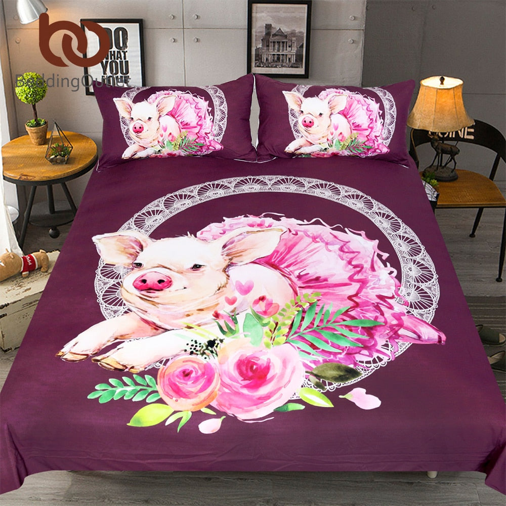 Dropshipful Ballet Pig Bedding Set Cute Piglet With Dress Duvet Cover Set Cartoon Home Textiles Pink Roses Floral Bedspreads - Dropshipful.com