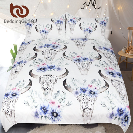 Dropshipful Tribal Skull Bedding Set Floral Printed Duvet Cover With Pillowcases Boho Bedclothes Queen Home Textiles For Woman - Dropshipful.com