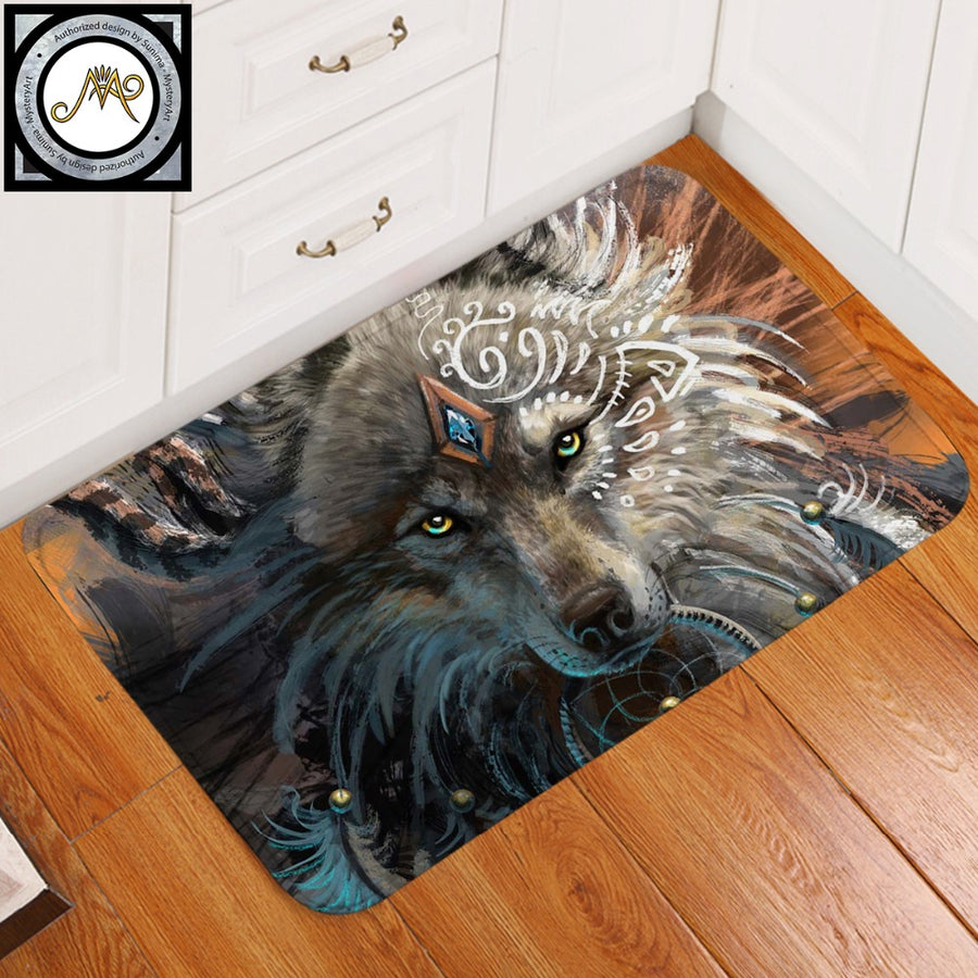Wolf Warrior by SunimaArt Bath Rugs Non-slip Soft Area Rug for Living Room Indian Wolf With Dreamcatcher Doormats Outdoor tapete - Dropshipful.com