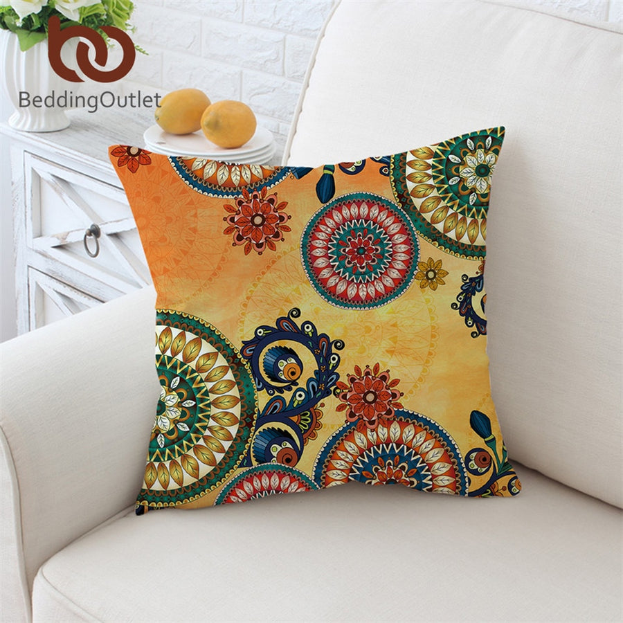 Dropshipful Kaleidoscope Cushion Cover Bohemian Pillowcase Mandala Flowers Throw Cover Ethnic Sofa Pillow Cover Home Decor - Dropshipful.com
