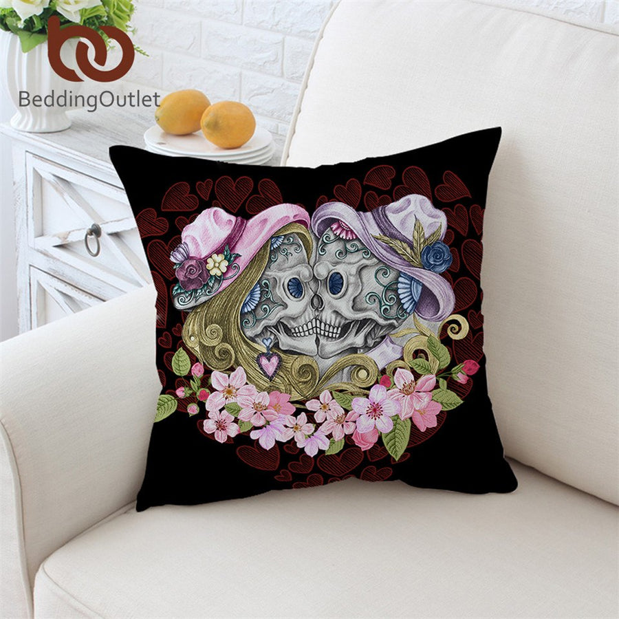 Dropshipful Skull Couples With Hat Cushion Cover Pink Flowers Pillowcase Gothic Throw Cover Red Hearts Decorative Pillow Cover - Dropshipful.com