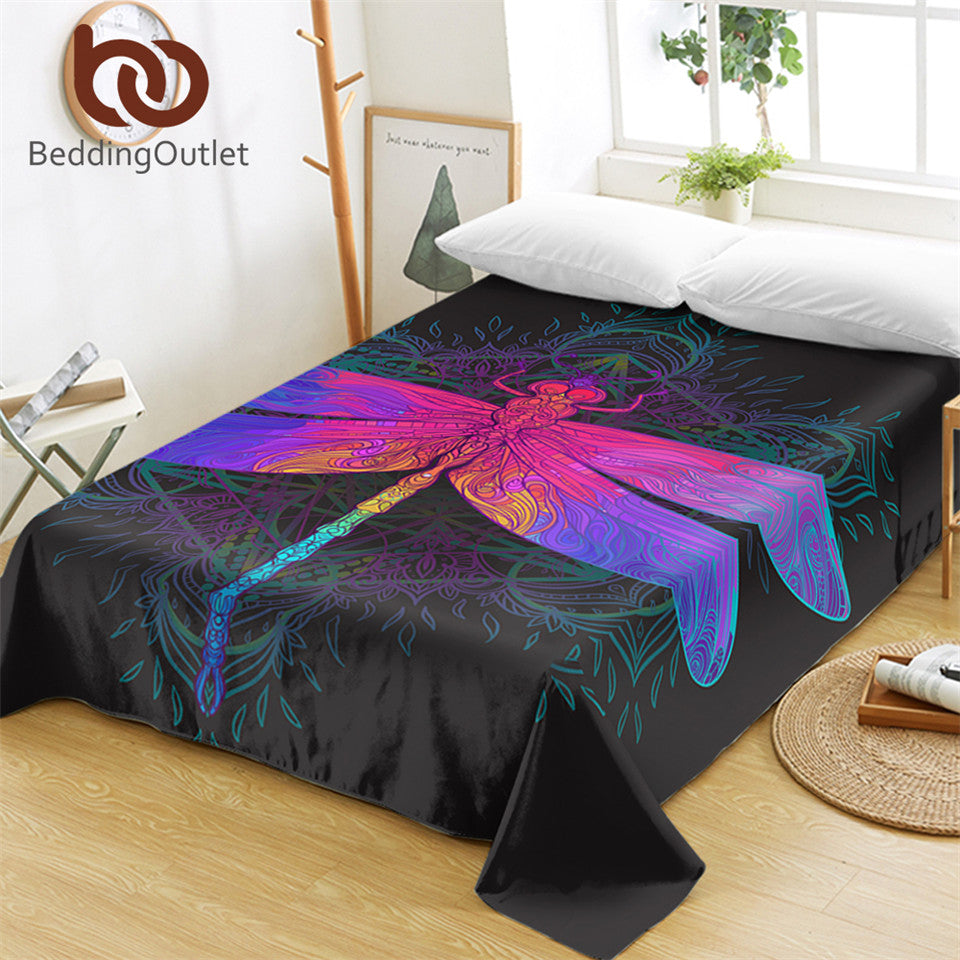 Dropshipful Dragonfly Mandala Bed Sheets Bohemian Flat Sheet Colorful Bed Linen Purple Pink Insect Bedspreads Twin Queen - Dropshipful.com
