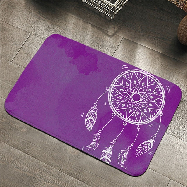 Dropshipful Watercolor Dreamcatcher Entrance Doormat Non-slip Bathroom Carpet Rug Purple Blue Pink Bohemian Floor Mat 2 Sizes - Dropshipful.com