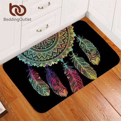 Dropshipful Dreamcatcher Carpet Non-slip Soft Rug Mandala Floor Mat Absorbent Bohemian Colorful Feathers Doormat For Bedroom - Dropshipful.com