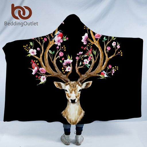 BeddingOutlet Elk Deer Hooded Blanket Black and White Floral Moose Sherpa Fleece Wearable Blanket Animal Reindeer Bedding - Dropshipful.com