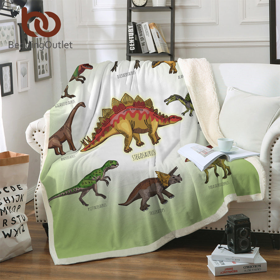BeddingOutlet Dinosaur Sherpa Throw Blanket Jurassic Printed Bedspread for Kids Stegosaurus Plush Blanket Boys Cartoon Bedding