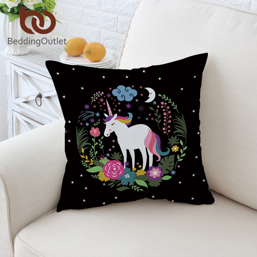 BeddingOutlet Unicorn Cartoon Cushion Cover Flowers Pillowcase Rainbow Tail Throw Cover Stars Moon Decorative Pillow Cover 45x45 - Dropshipful.com